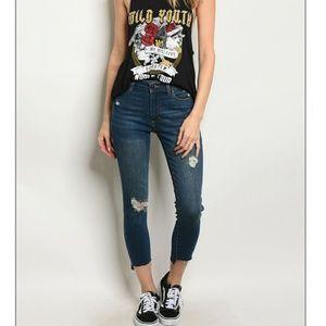 Denim - NWT distressed dark mid rise skinny jeans
